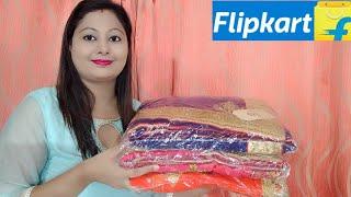 Flipkart Huge Saree Haul Part 1 ||Heavy Look Party/Wedding Saree || Chiffon,Georget, Silk Saree ||