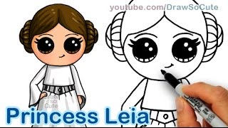 How to Draw Star Wars Princess Leia Cute step by step Easy - Carrie Fisher