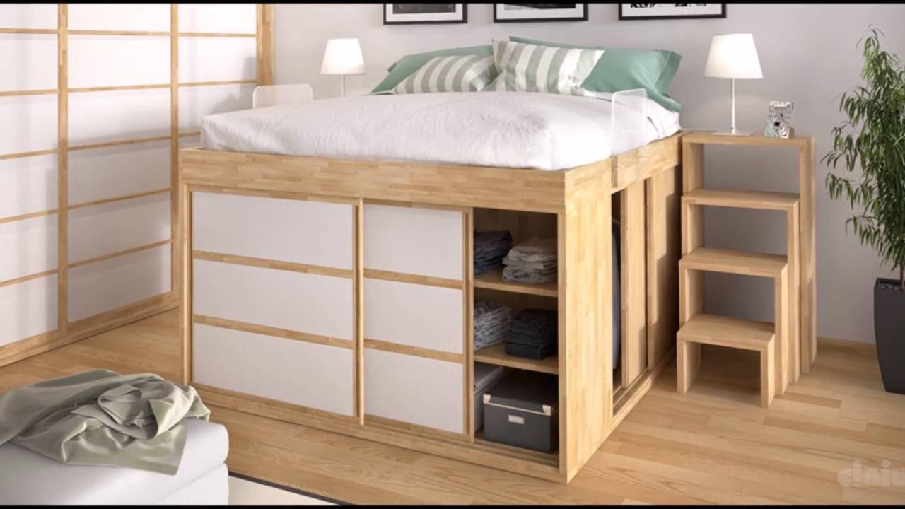 idee deco chambre lit armoire lit sureleve