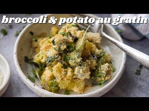 BROCCOLI & POTATO AU GRATIN [VEGAN EASY HOLIDAY DISH] | PLANTIFULLY BASED
