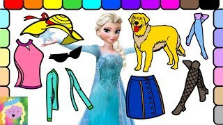 Dress Up Disney Princess Elsa To Go Walk Her Dog At The Park And Learn Names Of Colors And Clothes