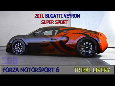 Forza 6 2011 Bugatti Veyron Super Sport Tribal Livery Available