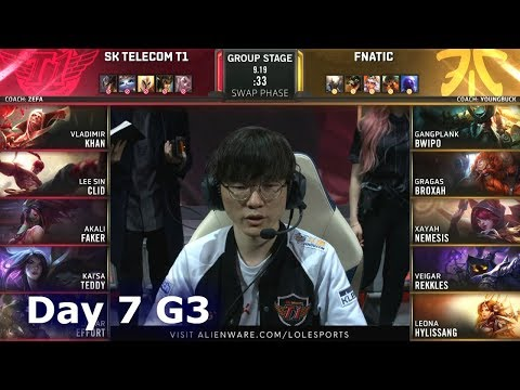 SKT Vs FNC | Day 7 S9 LoL Worlds 2019 Group Stage | SK Telecom T1 Vs Fnatic
