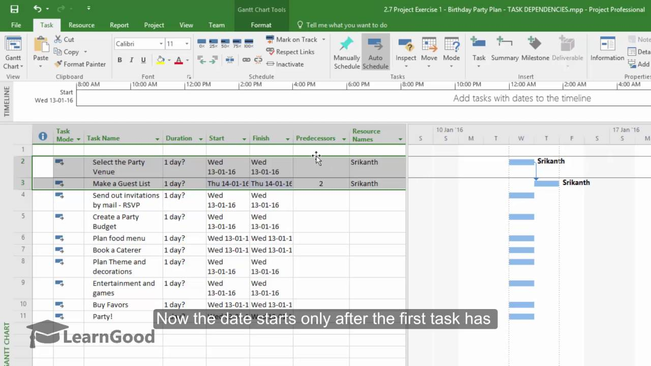 how to create predecessors in microsoft project 2016