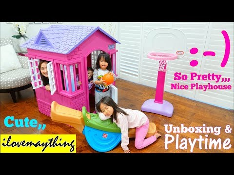 Family Toy Channel: Children's Playhouse Playset. Little Tikes Pink Cottage House. Teeter Totter