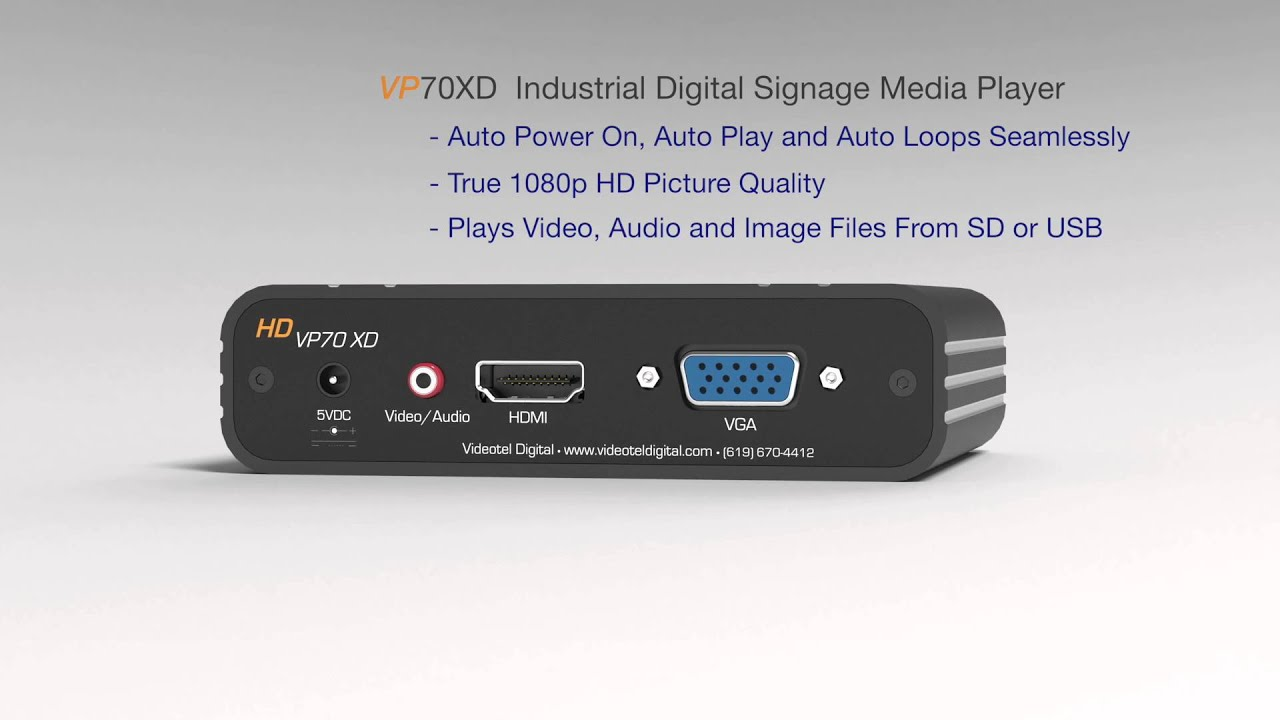 VP70XD Industrial Looping Media Player