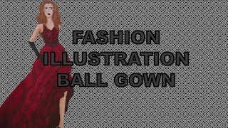 Fashion Drawing Fall Ball Gown