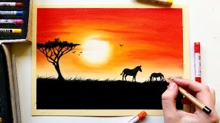 Drawing an African sunset with soft pastels | Leontine van vliet