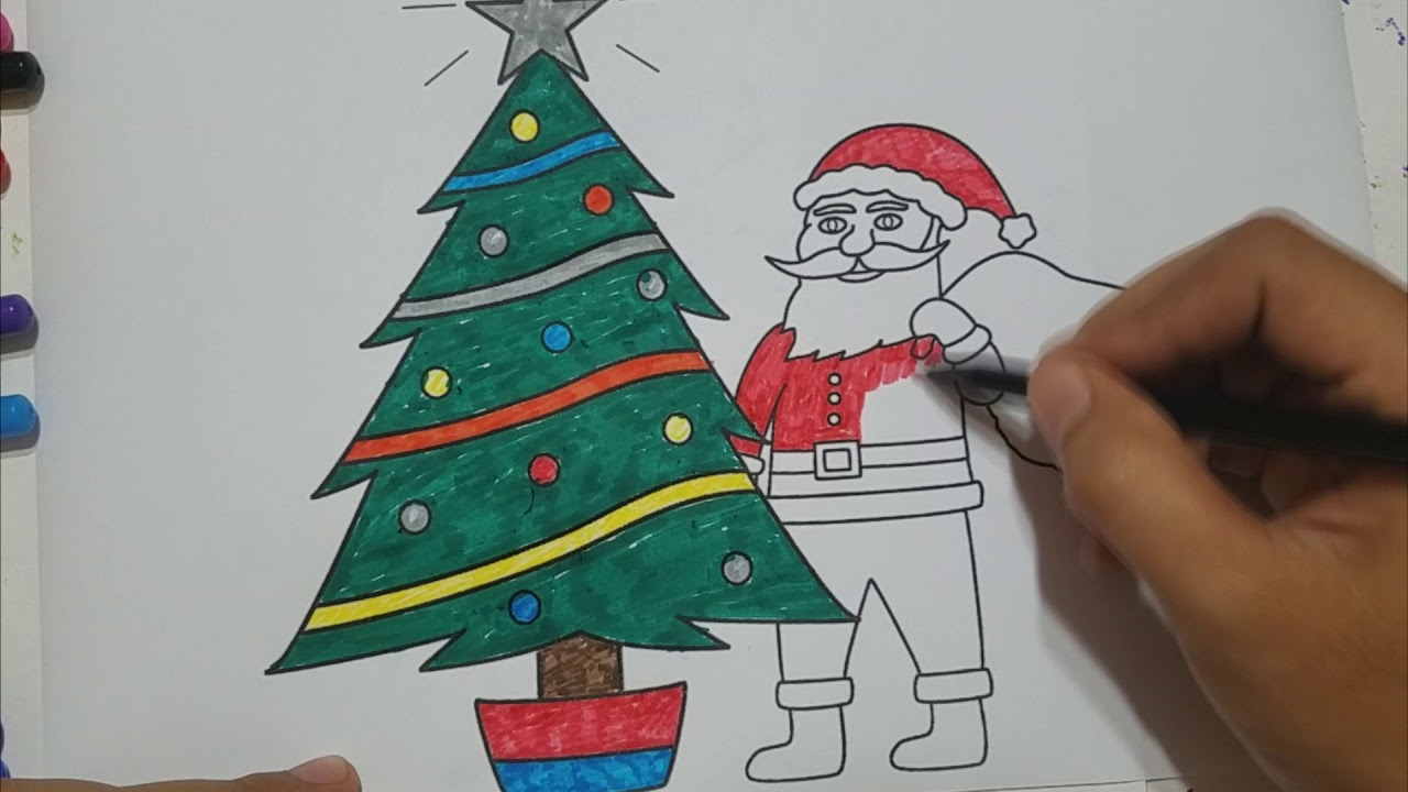 How to Draw Santa Putting Presents Under Tree - Santa Coloring Pages ...
