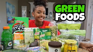 I Only Ate Green Foods for 24 Hours Challenge | LexiVee03 Video