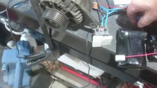 Alternateur transformé en moteur brushless et contrôleur 24V 500W et pack Li-ion
