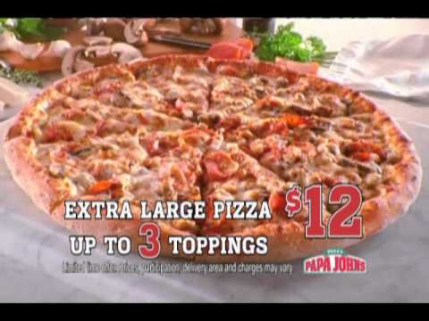 Papa John's Extra Large 3-topping Pizza for $12.00! - YouTube