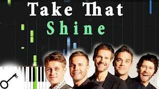 Take That - Shine [Piano Tutorial] Synthesia | passkeypiano