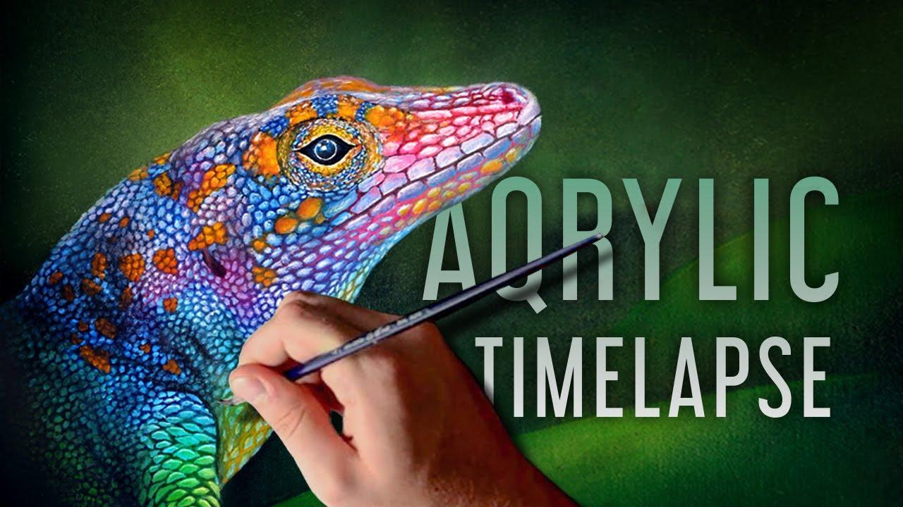Acrylic Speed Painting Lizard Youtube