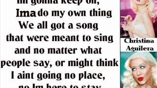 Christina Aguilera - Here To Stay (Lyrics On Screen)