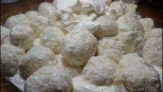 Papanasi cu branza de vaci. Scooped bagels with sweet/cow cheese
