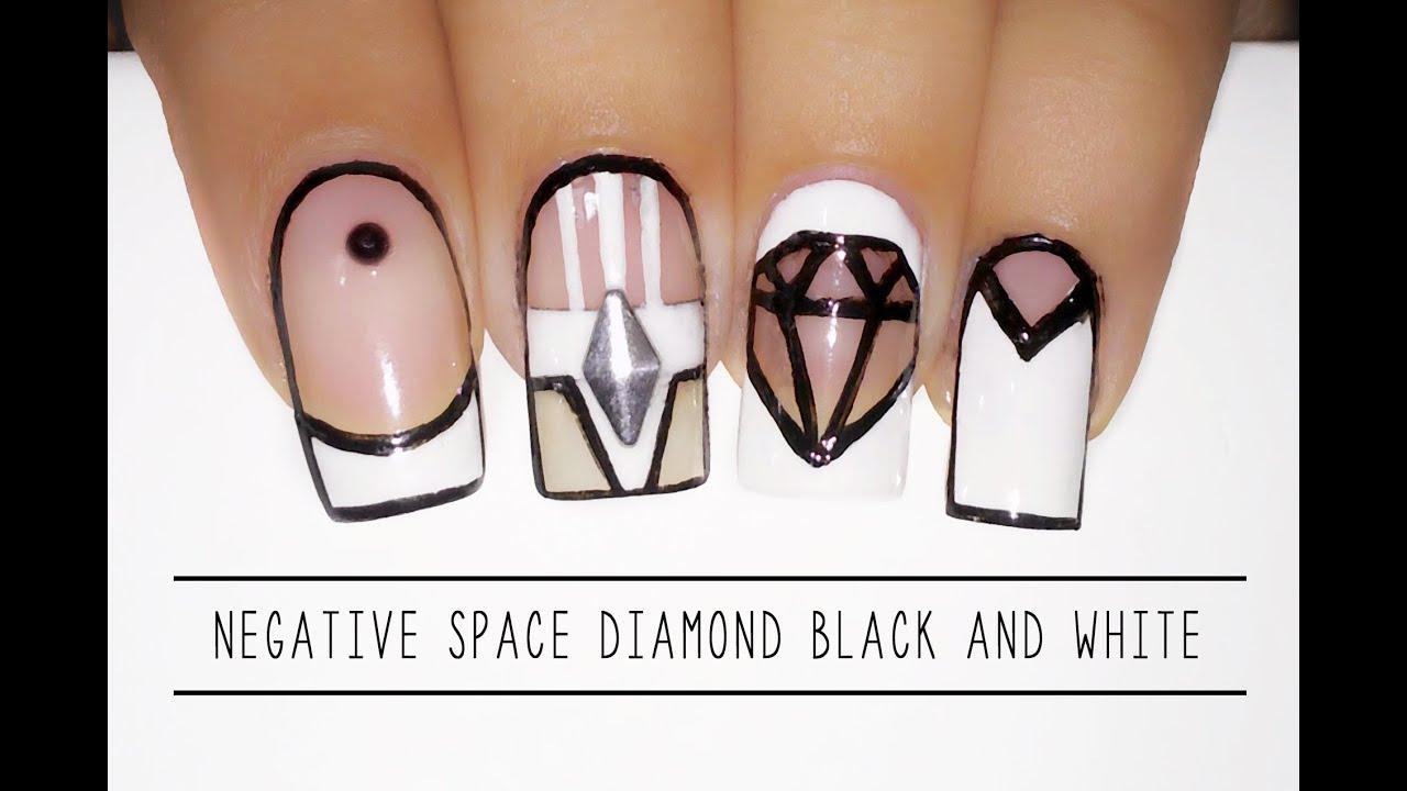 Nail art Negative Space Daimond Back and white - Diamante - YouTube