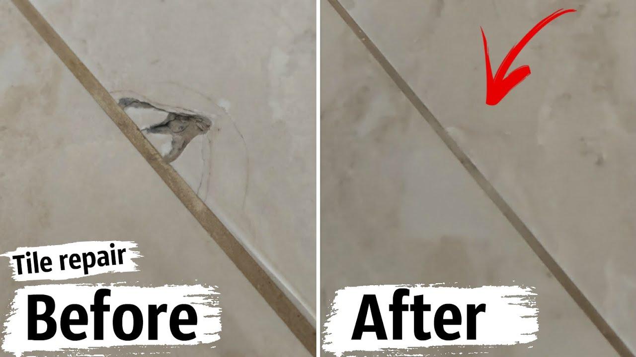 Tile repair. Restoration of cracks on a ceramic tile.