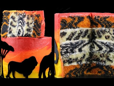 LION KING CAKE - Safari Animal Print Layers Baked INSIDE this Surprise Cake