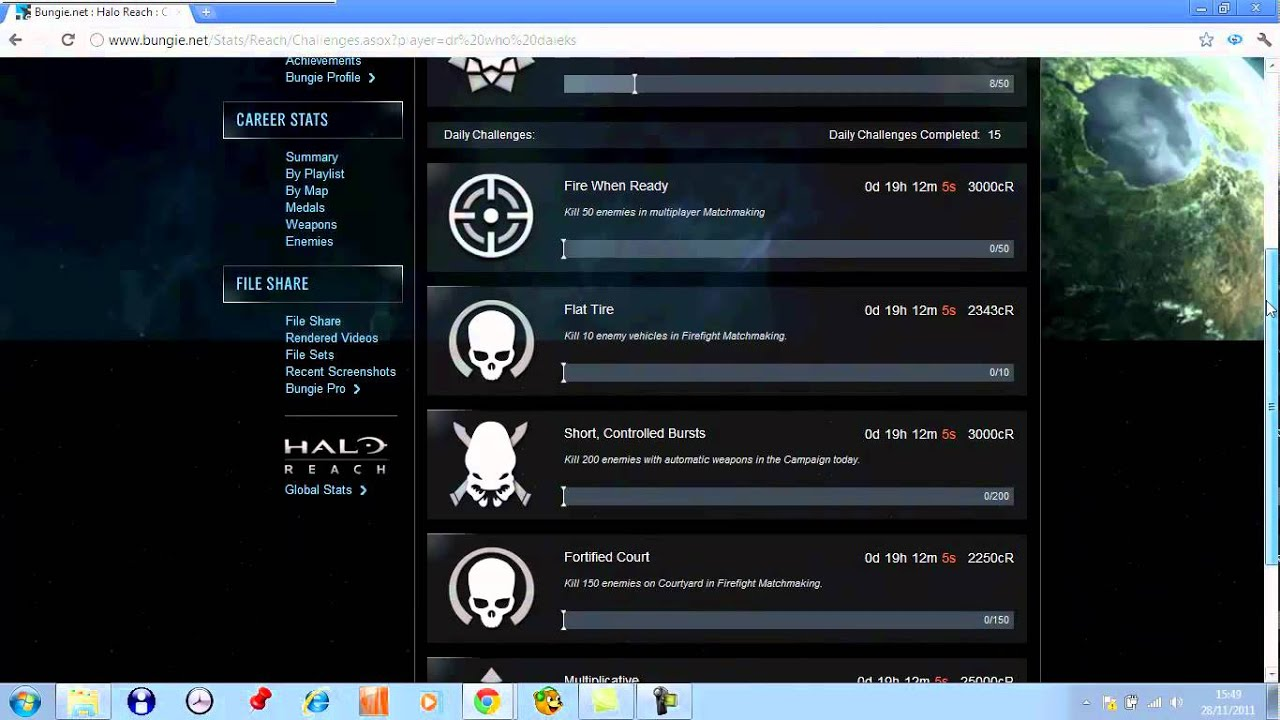 Halo Reach and Bungie net weekly challenge Glitch