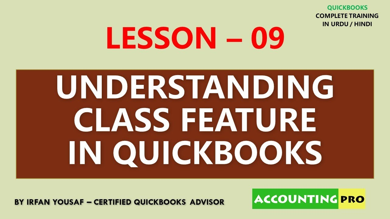 009 - Class Feature in QuickBooks - QuickBooks Tutorial in Urdu/Hindi