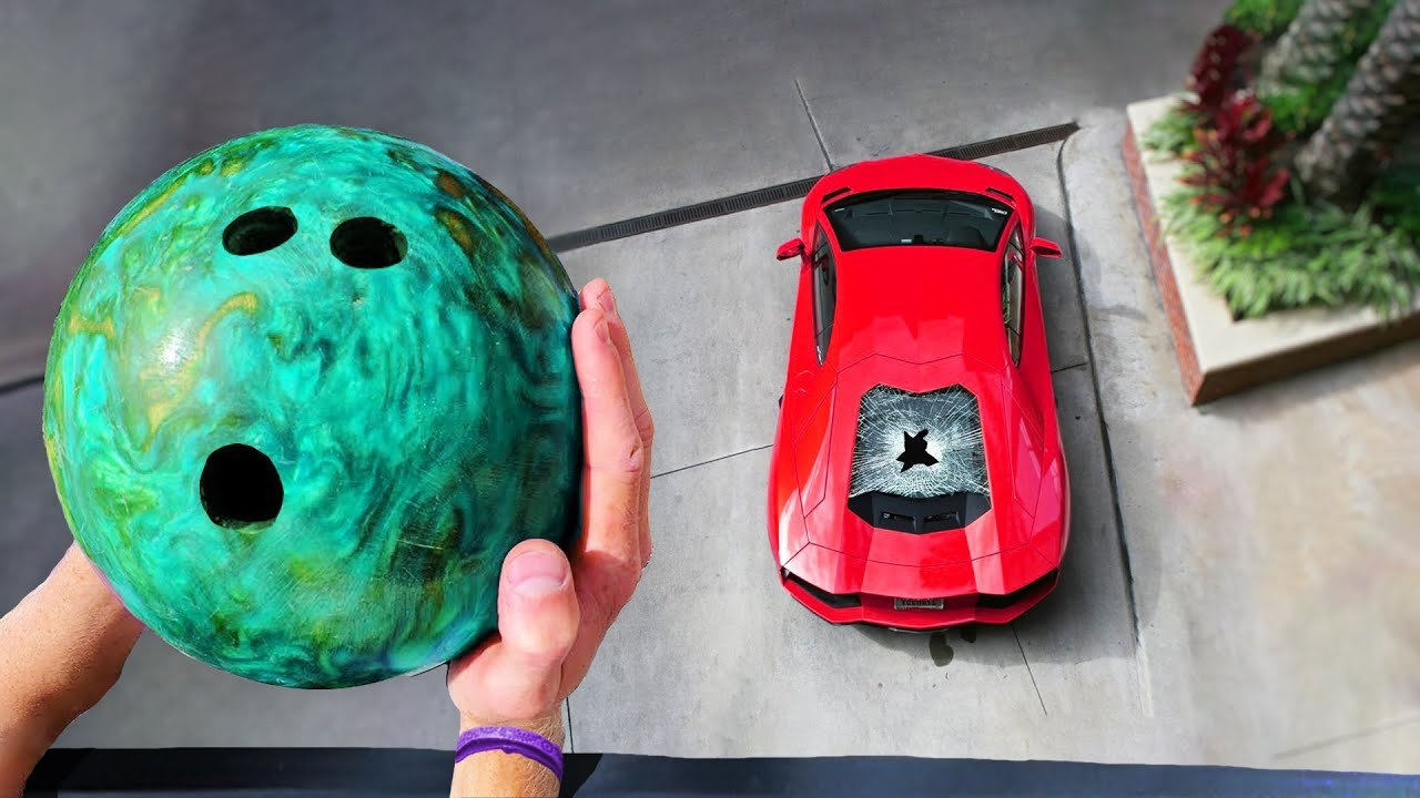 his car was loud, so i dropped a bowling ball on it..