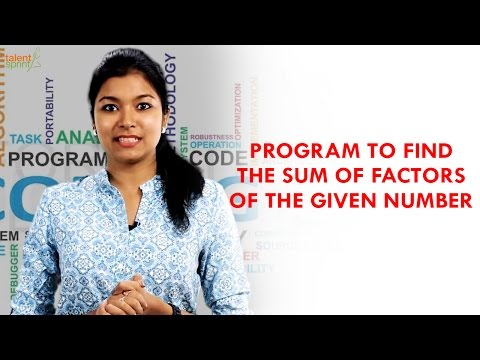 Program to find the Sum of Factors of a Number   Java Programming   TalentSprint