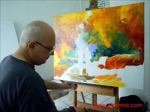 artist leonid afremov painting a new piece by palette knife october 26th