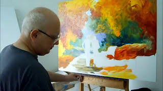 Repeat youtube video Artist Leonid Afremov painting a new piece by palette knife, October 26th