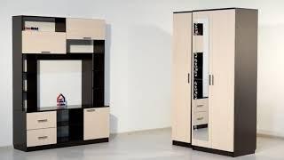 ВидеоОбзор EuroMebel: Шкаф для одежды 2Д как часть от комплект мебели Гостиная 3 (Россия)
