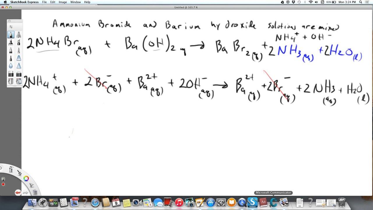 Net ionic equation Ammonium bromide plus barium hydroxide
