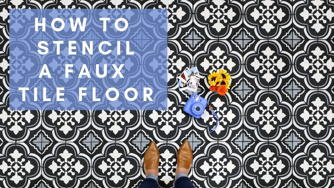 how to stencil a faux tile floor with cutting edge stencils youtube rh youtube com