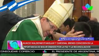 Nuncio Stanilaw y Cardenal Brenes coinciden en la importancia de seguir orando por la Paz