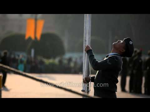 Unfurling the Indian flag at Beating Retreat rehearsal