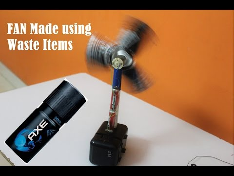 How to Make an Table Fan from Deodorant Bottle and other Waste items - Easy Way