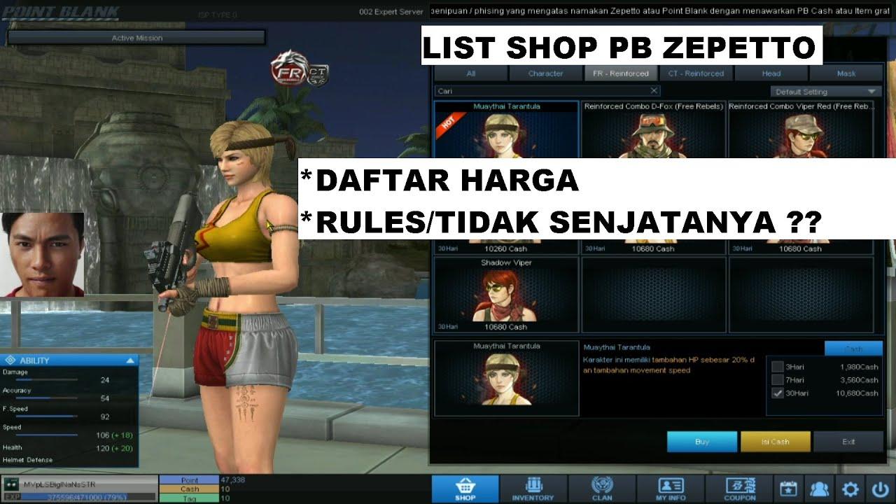List Shop PB Zepetto Minggu Ini