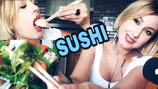 ASMR COMIENDO SUSHI//EATING and MOUTH SOUNDS + SUSURROS