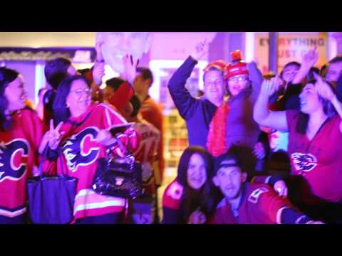 Calgary Flames fans celebrate on the Red Mile