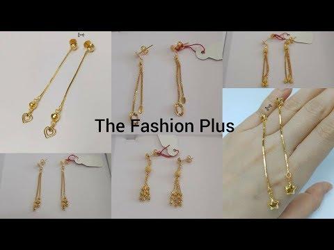 Light weight gold chain Earring Design
