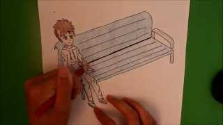 How I Draw A Boy Sitting On A Bench