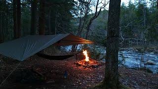 Hammock Camping in Heąvy Rain - Council Fire, Stove Comparison, Venison Burgers