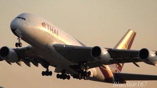 [Sunset] Thai Airways International Airbus A380-800 (HS-TUB) takeoff from KIX/RJBB (Kansai) 06R