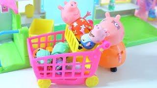 Магазинчик Шопкинс Первые Покупатели Пупсики и Пепа Видео с игрушками Toy Supper Market