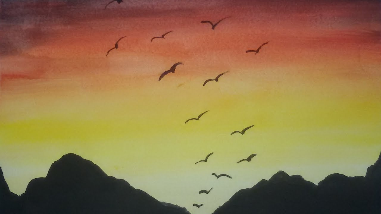 رسم السماء بلالوان المائيه Simple Watercolor Sky Painting Youtube