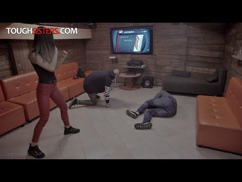 """""""TEA BAG""""- Karate Girl Vs 2 Guys In Football Pub"""