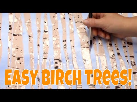 Easy Beginner Birch Trees Painting Tutorial Fluid Acrylic Technique #lovefallart2017