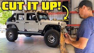 CUTTING APART OUR FIRST JEEP JK - Frame Chop Bumper Install!