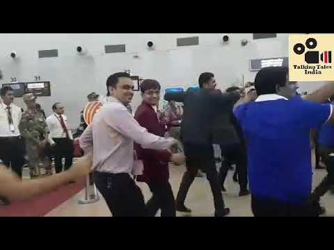 Garba at Ahmedabad Airport Gujarat, in uniform and colourful cloths 2018
