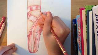 Ballet shoe (Pointe shoe) drawing tutorial // ArtyTigers