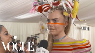 Cara Delevingne on Her Over-The-Top Met Gala Look | Met Gala 2019 With Liza Koshy | Vogue